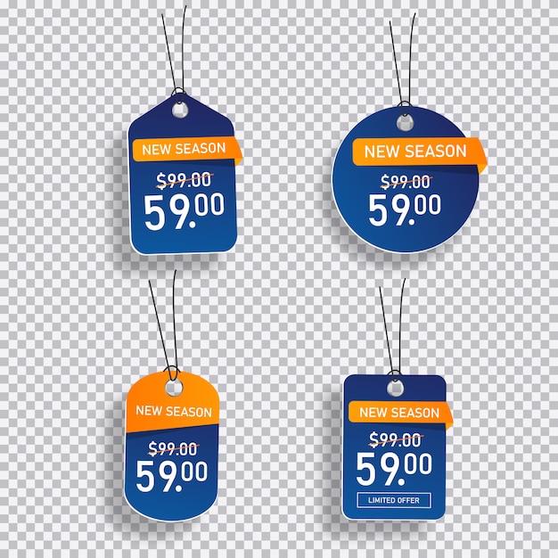 Collezione di cartellini dei prezzi di vendita Vettore Premium
