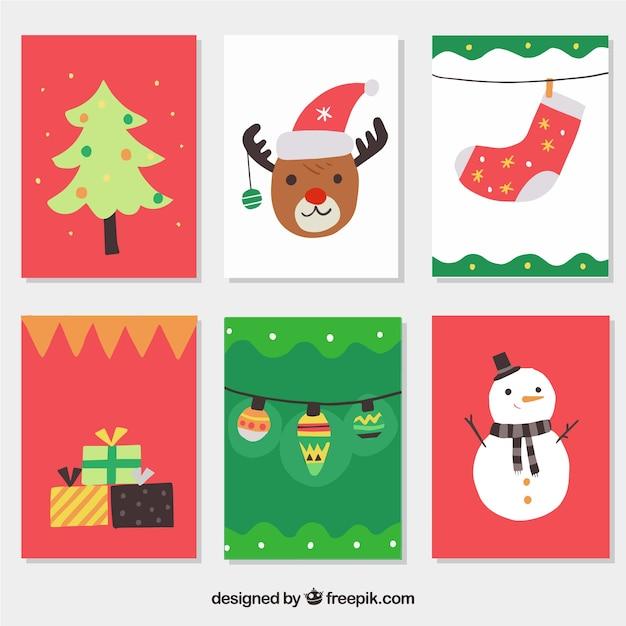 Collezione di cartoline colorate di natale Vettore gratuito