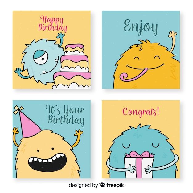 Collezione di cartoline di compleanno divertenti disegnati a mano Vettore gratuito