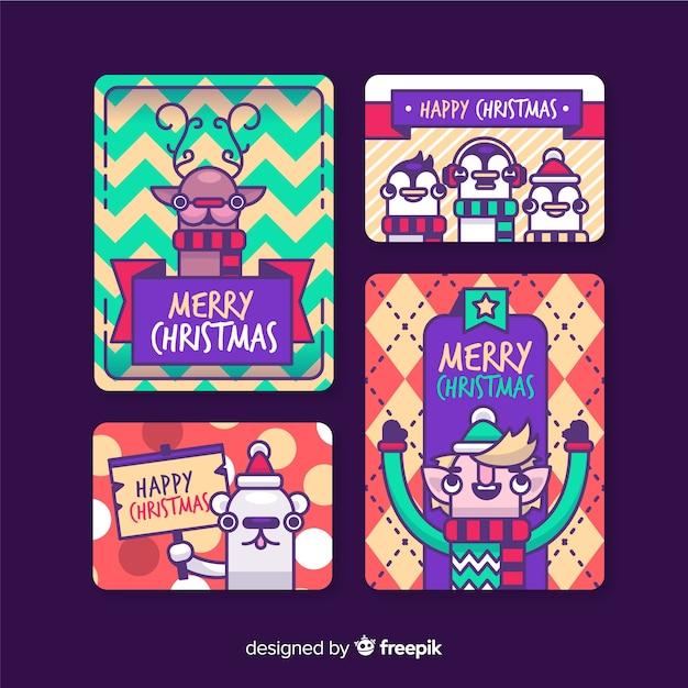 Collezione di cartoline di natale personaggi Vettore gratuito