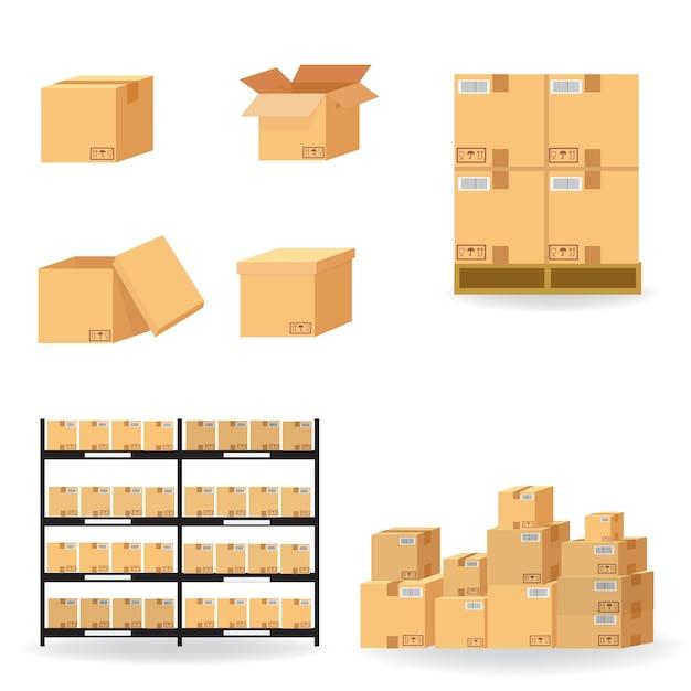 Collezione di cartone scatole di cartone Vettore Premium