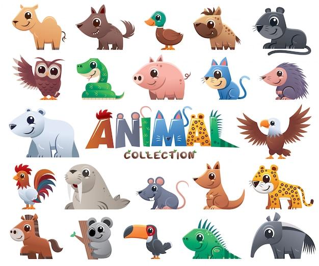 Collezione di cartoni animali Vettore Premium