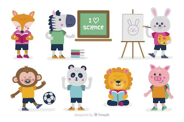 Collezione di cartoni animati animali a scuola Vettore gratuito