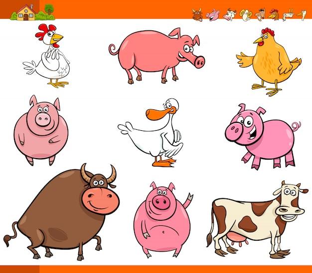 Collezione di cartoni animati animali da fattoria