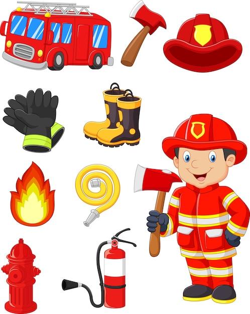 Collezione di cartoni animati di attrezzature antincendio Vettore Premium