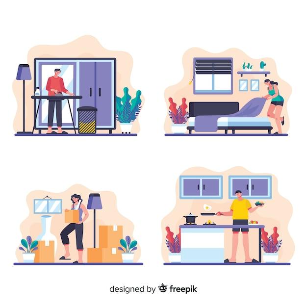 Collezione di cartoni animati di design piatto lavori domestici Vettore gratuito