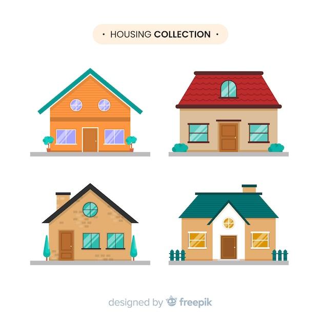 Collezione di case Vettore gratuito