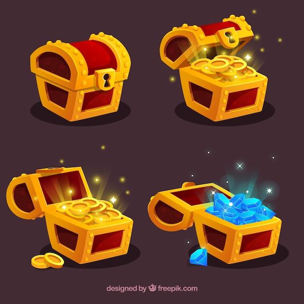 Collezione di casse del tesoro aperte e chiuse con design piatto Vettore gratuito