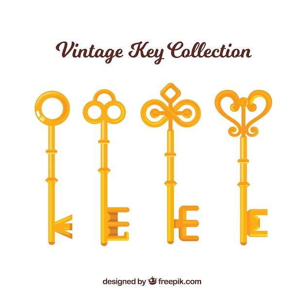 Collezione di chiavi d'epoca Vettore gratuito