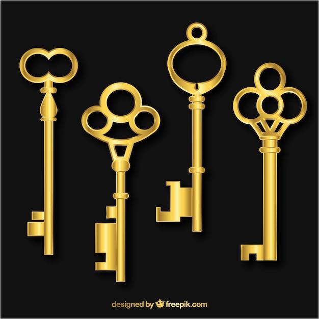 Collezione di chiavi realistica Vettore gratuito