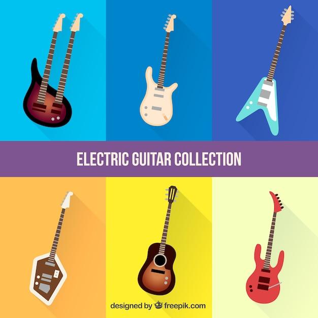 Collezione di chitarre elettriche realistiche Vettore gratuito