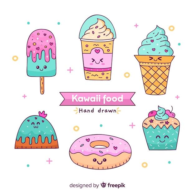 Collezione di cibo dolce disegnata a mano kawaii Vettore gratuito