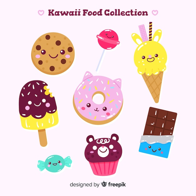 Collezione di cibo dolce kawaii disegnata a mano Vettore gratuito