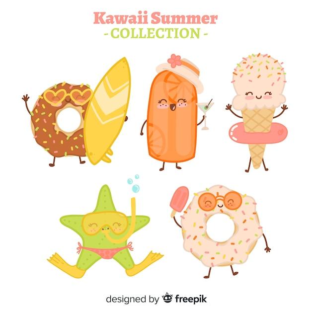 Collezione di cibo estivo kawaii piatto Vettore gratuito