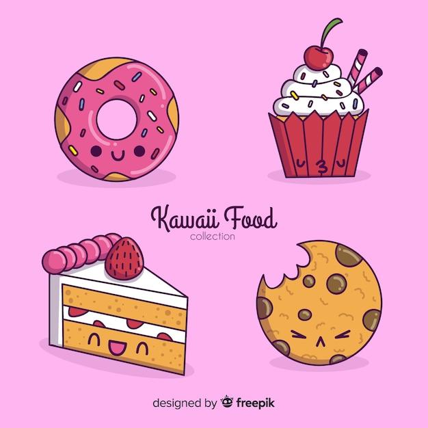 Collezione di cibo kawaii disegnata a mano Vettore gratuito