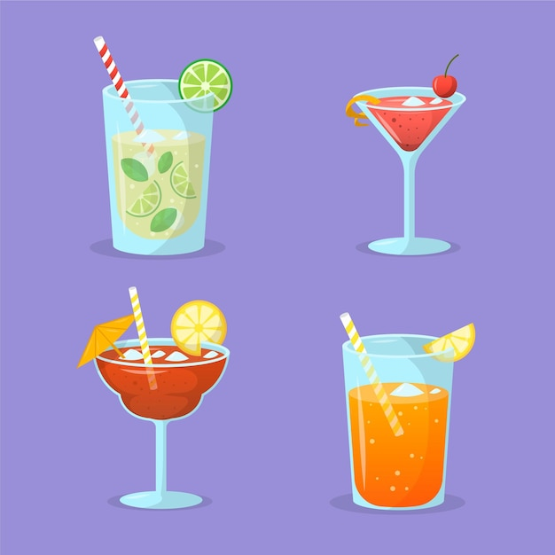 Collezione di cocktail design piatto Vettore gratuito