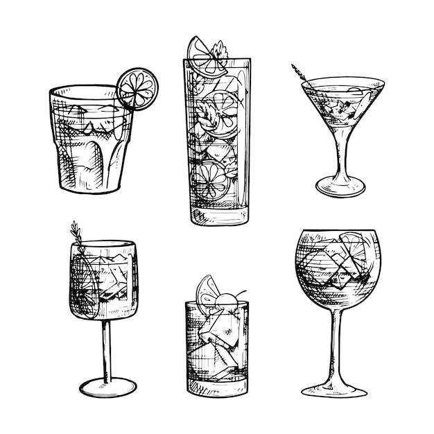 Collezione di cocktail disegnati a mano in bianco e nero Vettore gratuito