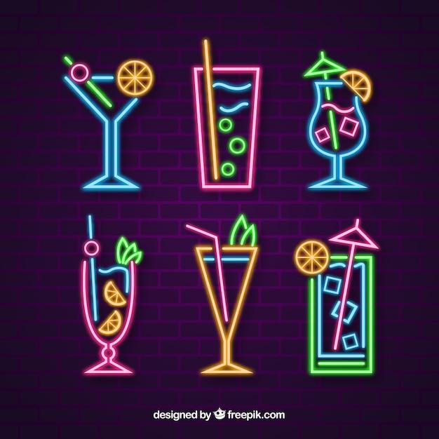 Collezione di cocktails con luce al neon Vettore gratuito