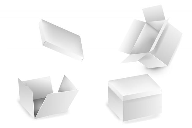 Collezione di collezioni di scatole aperte. insieme delle scatole di cartone bianche del regalo isolate su fondo bianco. un set di scatole da imballaggio isolate. scatola di cartone realistica, contenitore, imballaggio. Vettore Premium