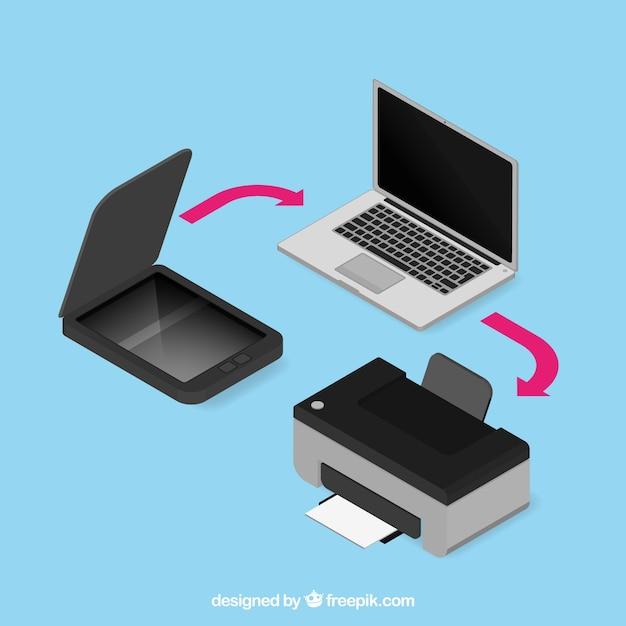 Collezione di computer portatile e stampante Vettore gratuito