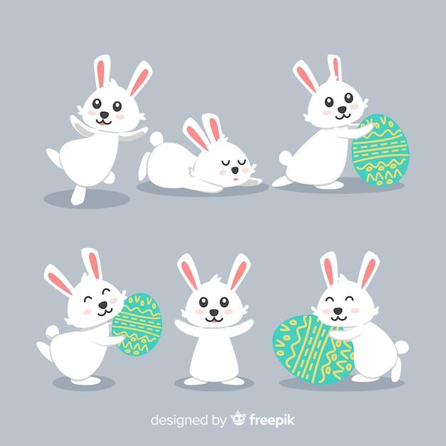 Collezione di conigli di giorno di pasqua Vettore gratuito