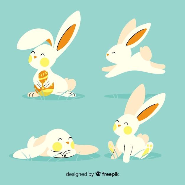 Collezione di conigli pasquali Vettore gratuito