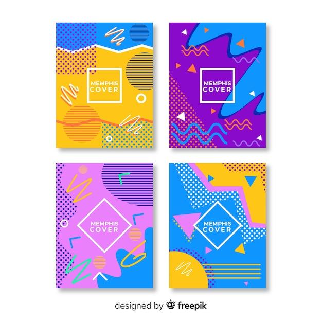 Collezione di copertine colorate in stile memphis Vettore gratuito