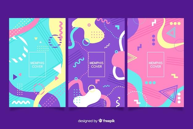 Collezione di copertine di design memphis Vettore gratuito