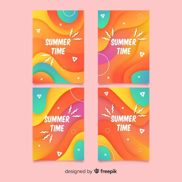 Collezione di copertine estive astratte Vettore gratuito