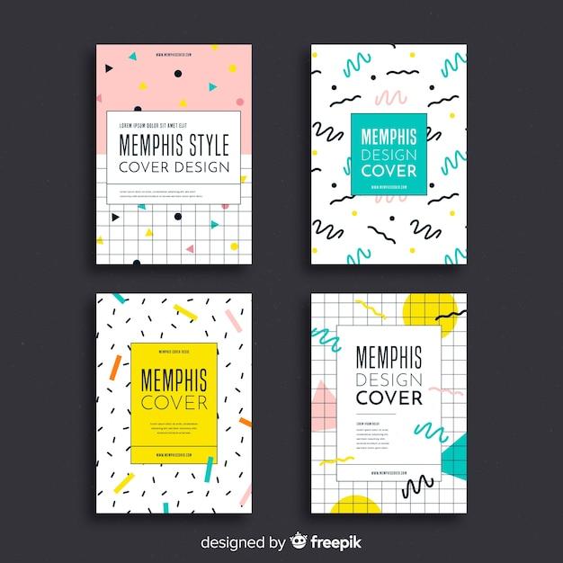 Collezione di copertine in stile memphis Vettore gratuito
