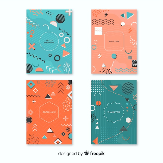 Collezione di copertine memphis con forme geometriche Vettore gratuito