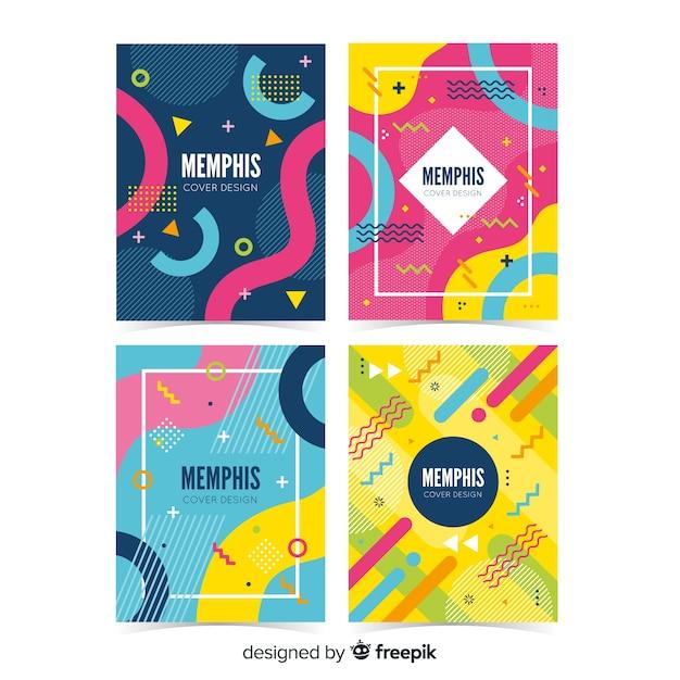 Collezione di copertine memphis Vettore gratuito