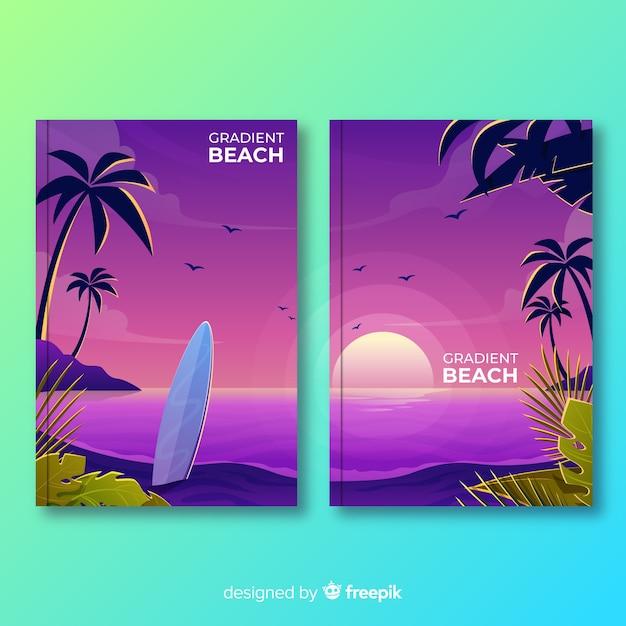 Collezione di copertura per spiaggia gradiente Vettore gratuito