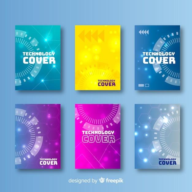 Collezione di copertura tecnologia colorata Vettore gratuito