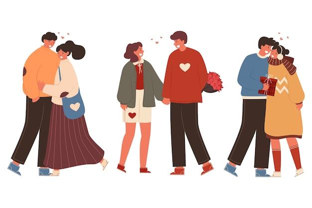 Collezione di coppia di san valentino Vettore gratuito