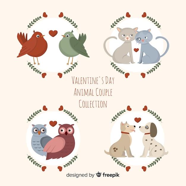 Collezione di coppie animali san valentino piatto Vettore gratuito