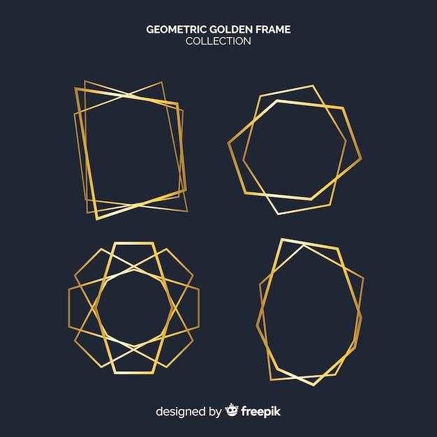 Collezione di cornici geometriche dorate Vettore gratuito