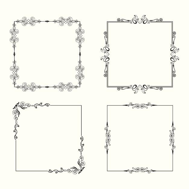 Collezione di cornici ornamentali vintage Vettore gratuito