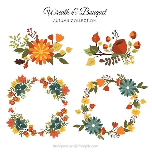 Collezione di corona d'autunno Vettore gratuito