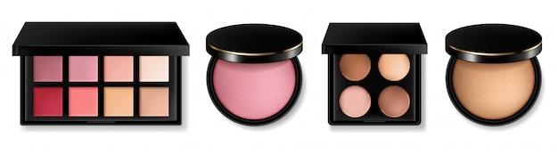 Collezione di cosmetici e fard in polvere Vettore Premium