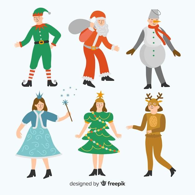 Collezione di costumi natalizi di carnevale piatto Vettore gratuito