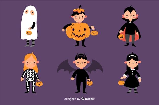Collezione di costumi per bambini per halloween Vettore gratuito