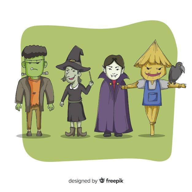 Collezione di creature raccapriccianti di halloween Vettore gratuito