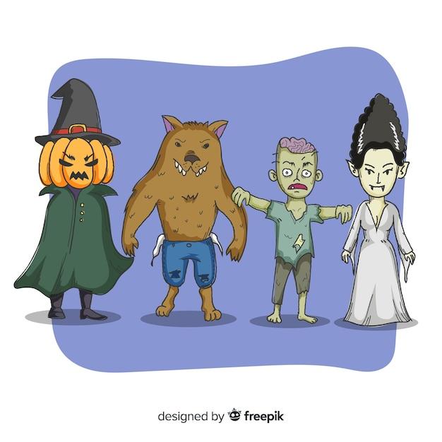 Collezione di creature spettrali di halloween Vettore gratuito
