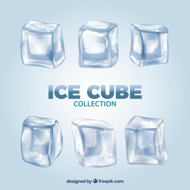 Collezione di cubetti di ghiaccio con uno stile realistico Vettore gratuito