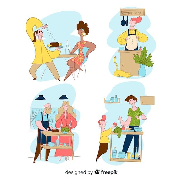 Collezione di cucina persona disegnata a mano Vettore gratuito