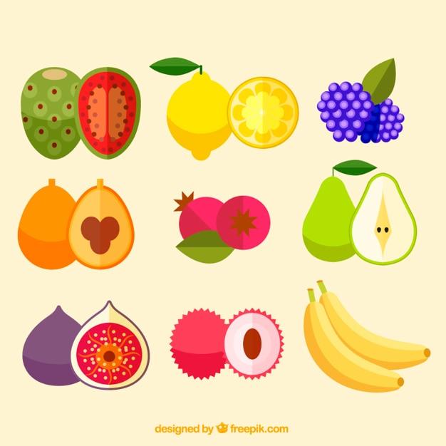 Collezione di deliziosi frutti Vettore gratuito