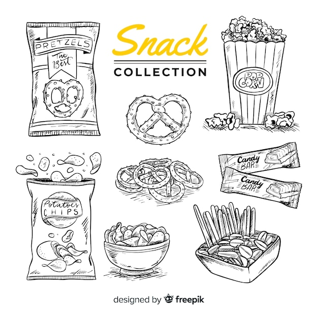 Collezione di deliziosi snack disegnati a mano Vettore gratuito