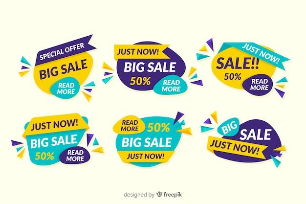 Collezione di design astratto banner di vendita Vettore gratuito