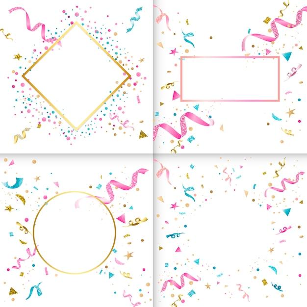Collezione di design colorato coriandoli Vettore gratuito